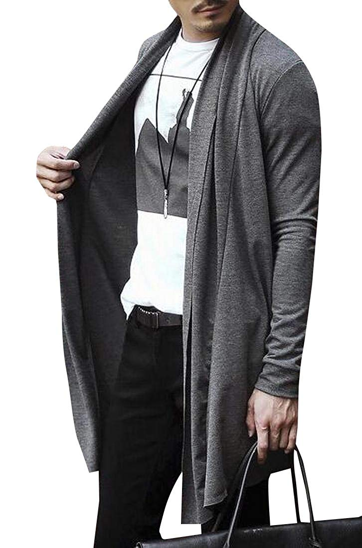 Comaba Mens Wollen Draped Cosplay Mid Long Overcoat with Pockets