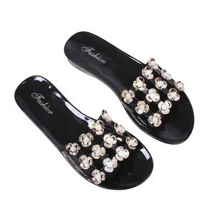 63effffcb pcu shoe sandal. New Design Flat Product 2019 High Quality Woman Shoes  Diamond Flower Footwear Pcu Slipper Shoe Beach