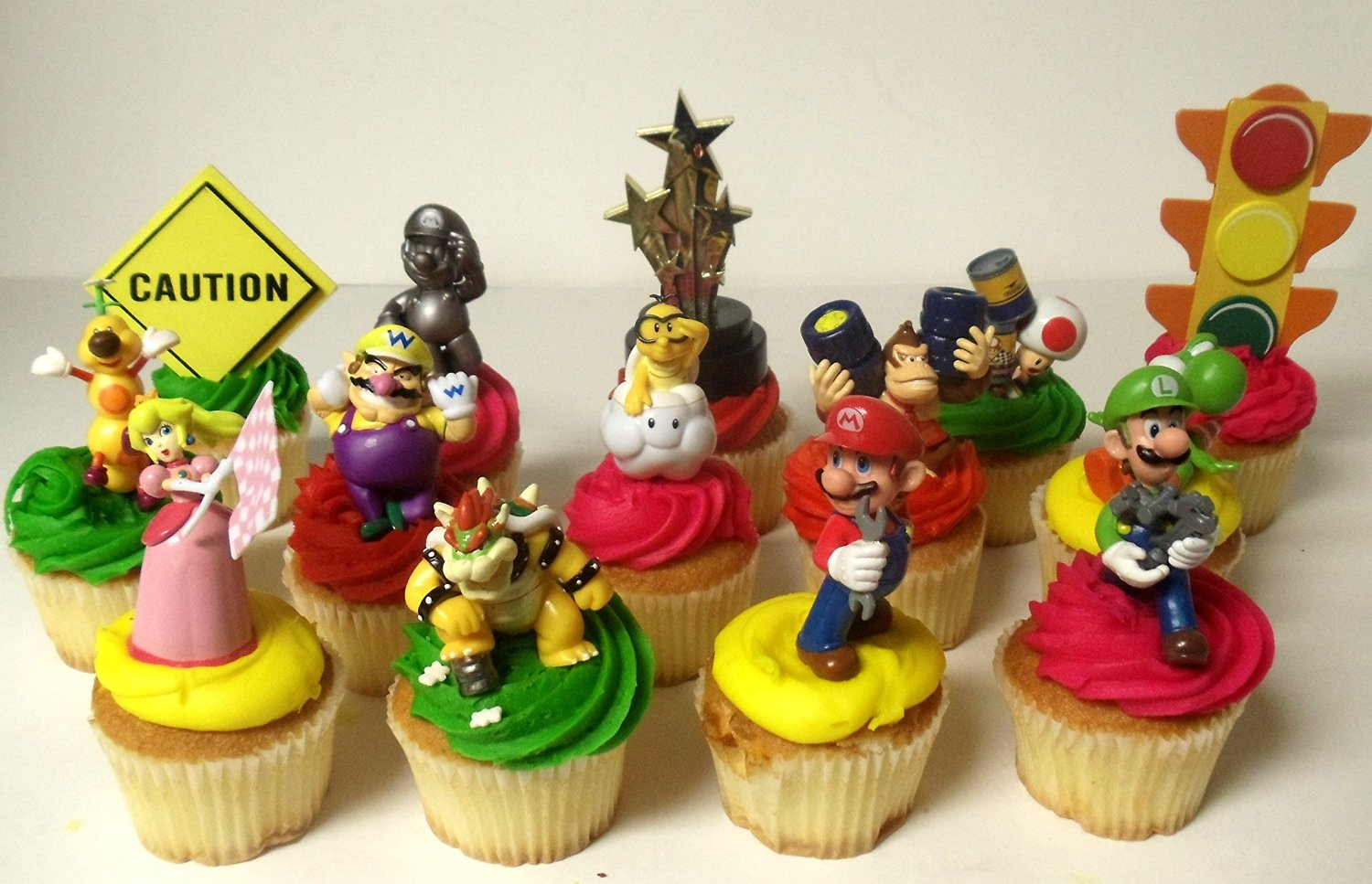Super Mario Brothers MARIO KART 14 Piece Birthday Deluxe Cupcake Topper Set Featuring Toad, Luigi, Princess Peach, Wario, Bowser, Yoshi, Lakitu Spiny, Donkey Kong, Mario, Han Chan Wiggler and Decorative Themed Accessories