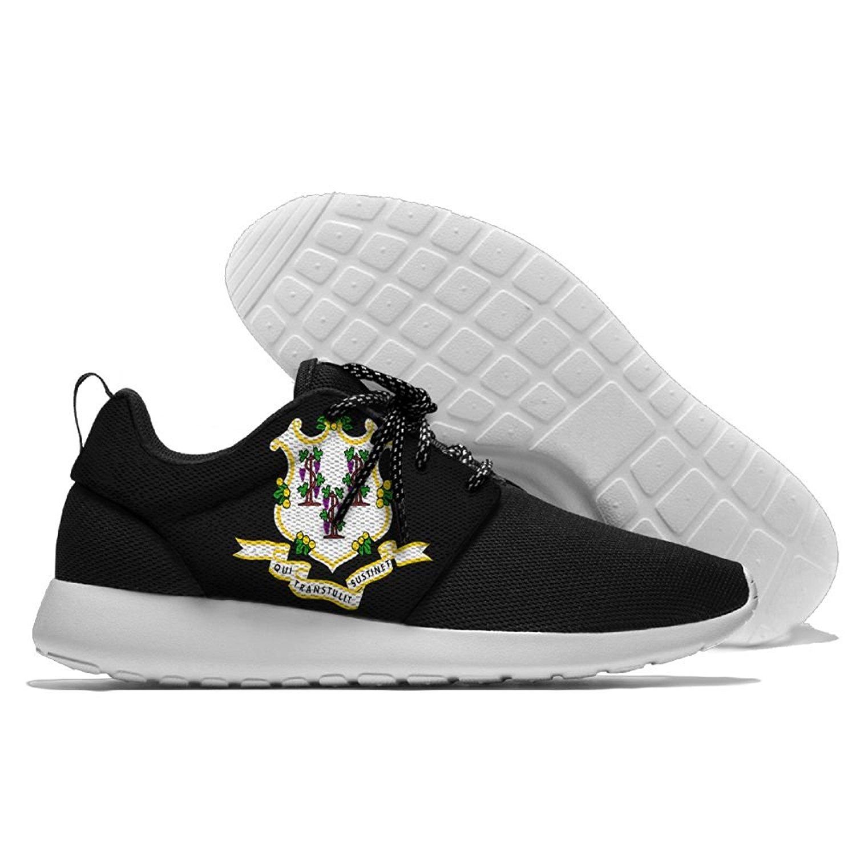 Men Women Gym Shoes Athletic Fabric Sneakers Connecticut Flag Mesh Gym Shoes