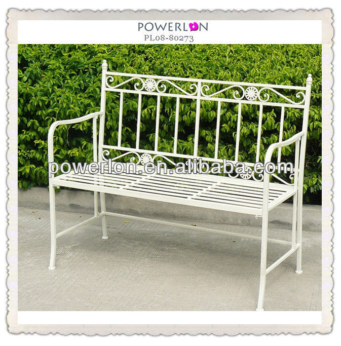 Outdoor Antique Metal White Garden Bench