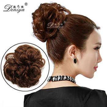 Synthetic Hair Attachment Chignon Piece Hot Buns For Ballet Costume Bow