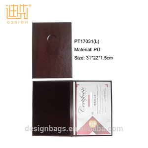 Hot Selling Fashion PU Leather Graduation Certificate Holder Factory OEM Certificate Hard Cover