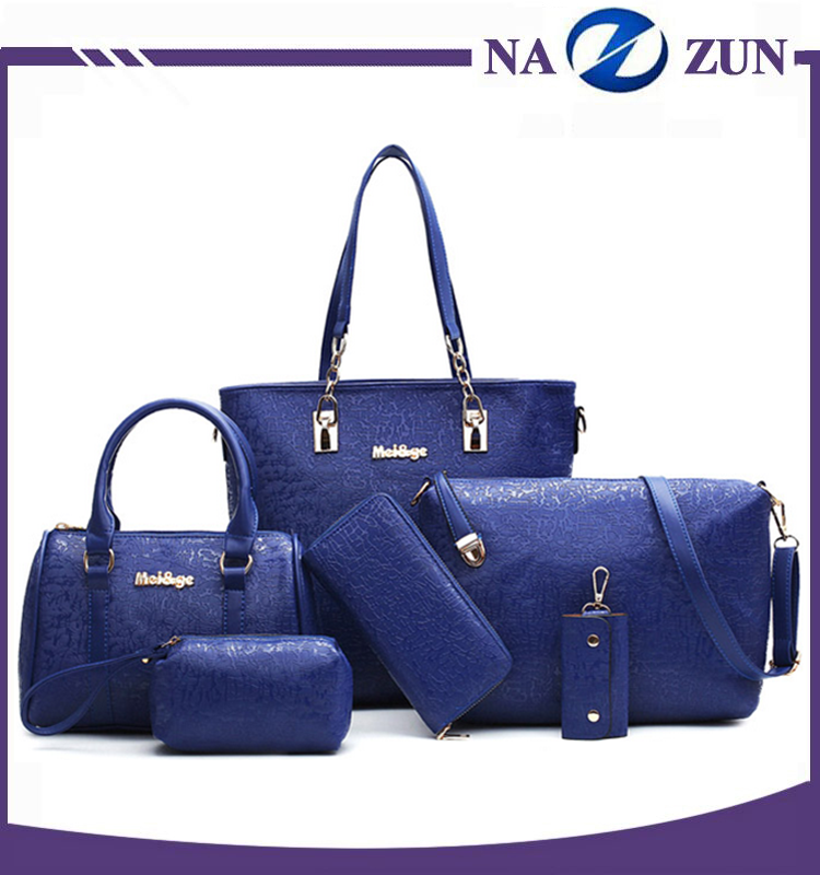 North China brand design lady yellow black blue and write set handbags and purses