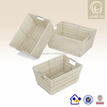 handmade PE rattan grey wicker laundry basket for storage tote with mental handles