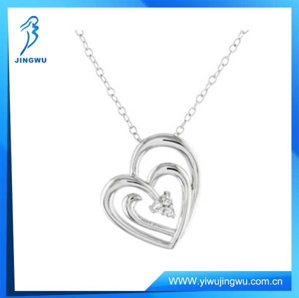 925 Sterling Silver Jewelry CZ Stone Heart Pendant Chain