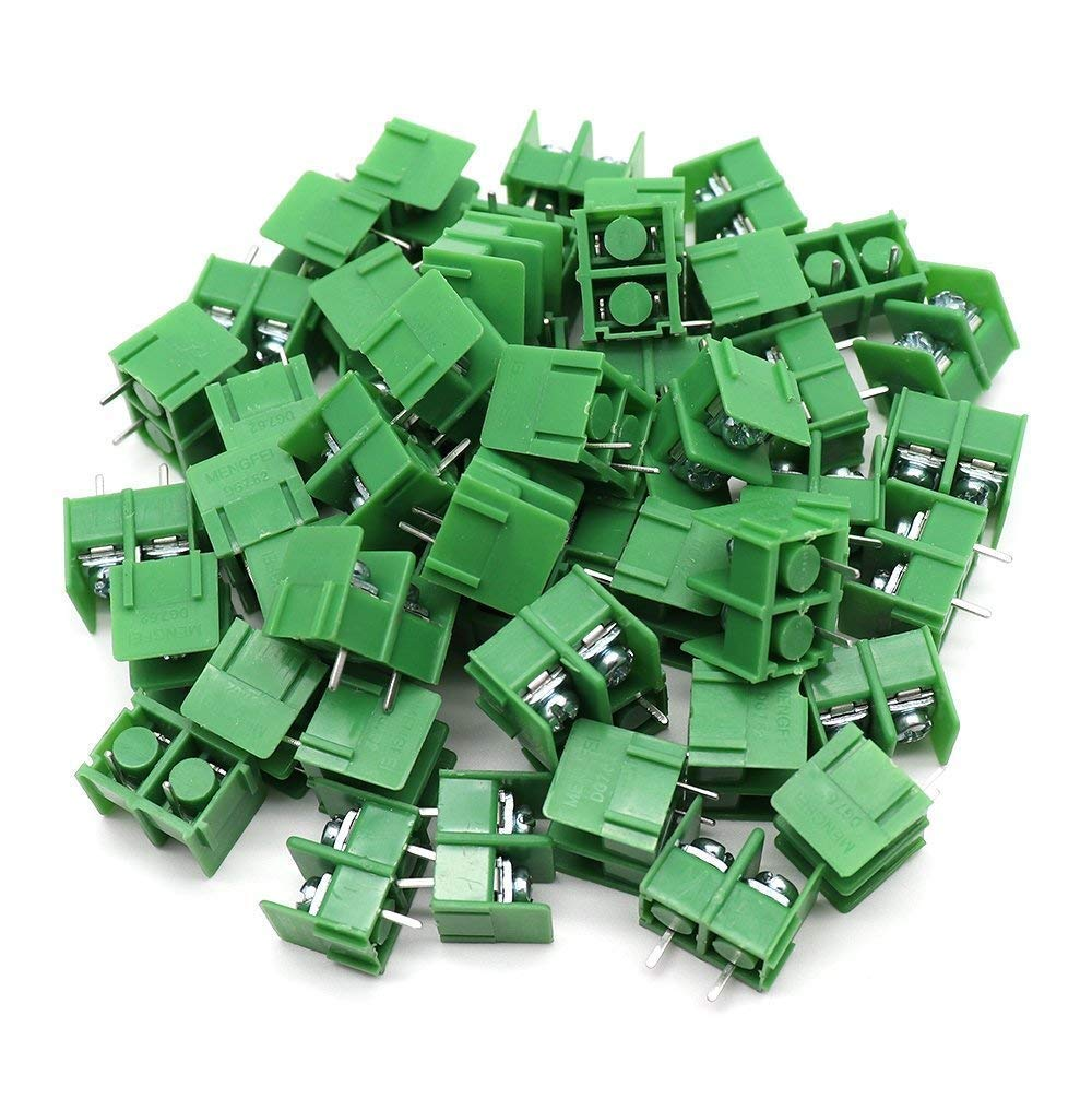 Yootop 50 Pcs 2Pin 7.62mm/0.3'' Pitch PCB Screw Terminal Block Connector,Green
