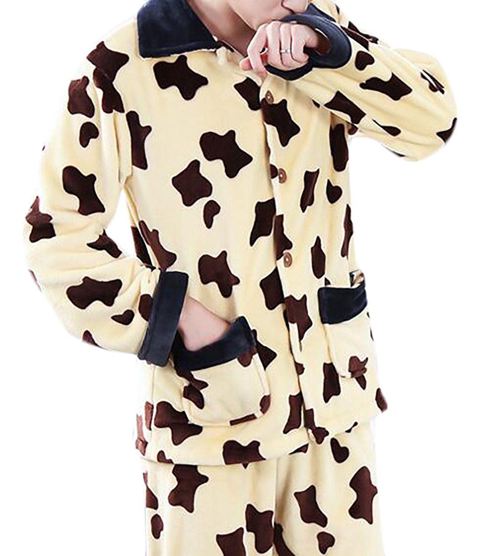 728db5c051 Get Quotations · Vska Mens Casual Thicker Warm Plaid Print Flannel Pajamas  Home Clothes Suit