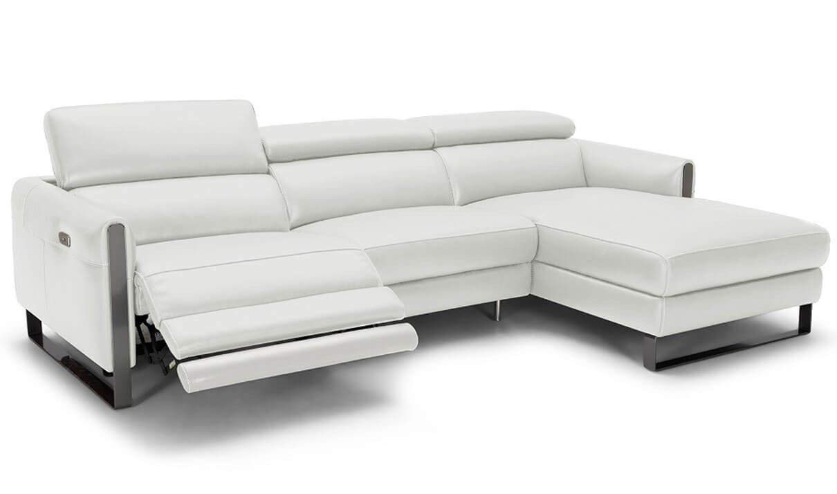 J&M Furniture Vella Italian Leather Motion Right Facing Sectional Sofa in White