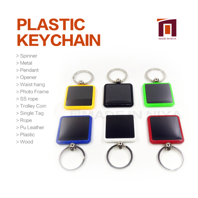 Oem Mini Uv Square Plastic Parts And Accessories Hotel Room Keychain With Box