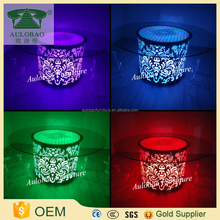 Led Light round glass dining table set for sale