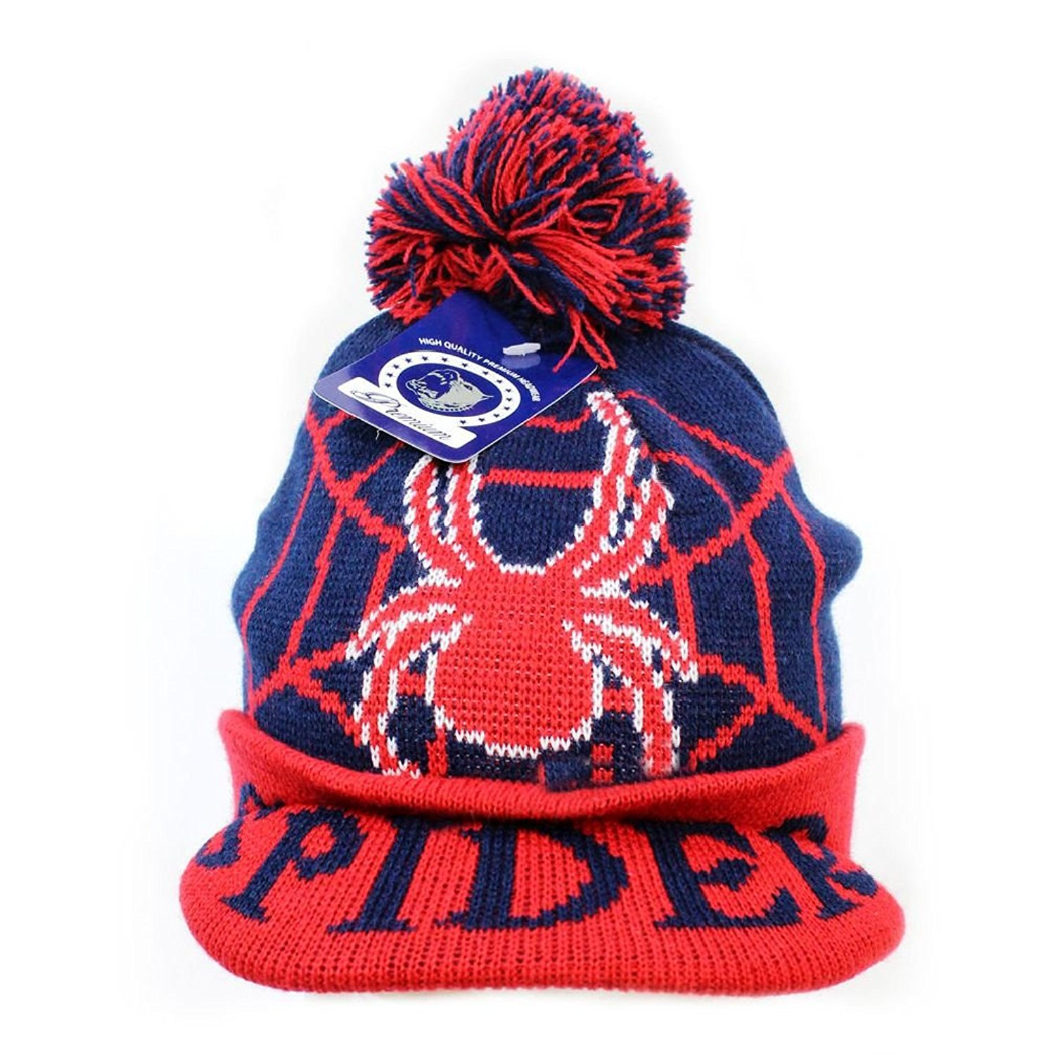 ed8a31e95ba Spider Boys Girls Kids Pom Pom Visor Beanie Hat Winter Knit Ski Cap Skull  Cap