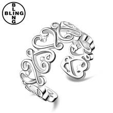 >>>Wholesale Silver Ring Cute hollow heart finger/toe cuff rings mixed size can adjustable/