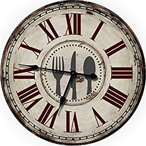 """24"""" Fork Knife Spoon Large Wall Clock Oversized Wall Clocks Decorative Wall Clock Perfect for Antique Clocks Vintage Clocks Shabby Chic Country Decor Rustic Decor Look Wood Wall Clock Kitchen Clocks"""