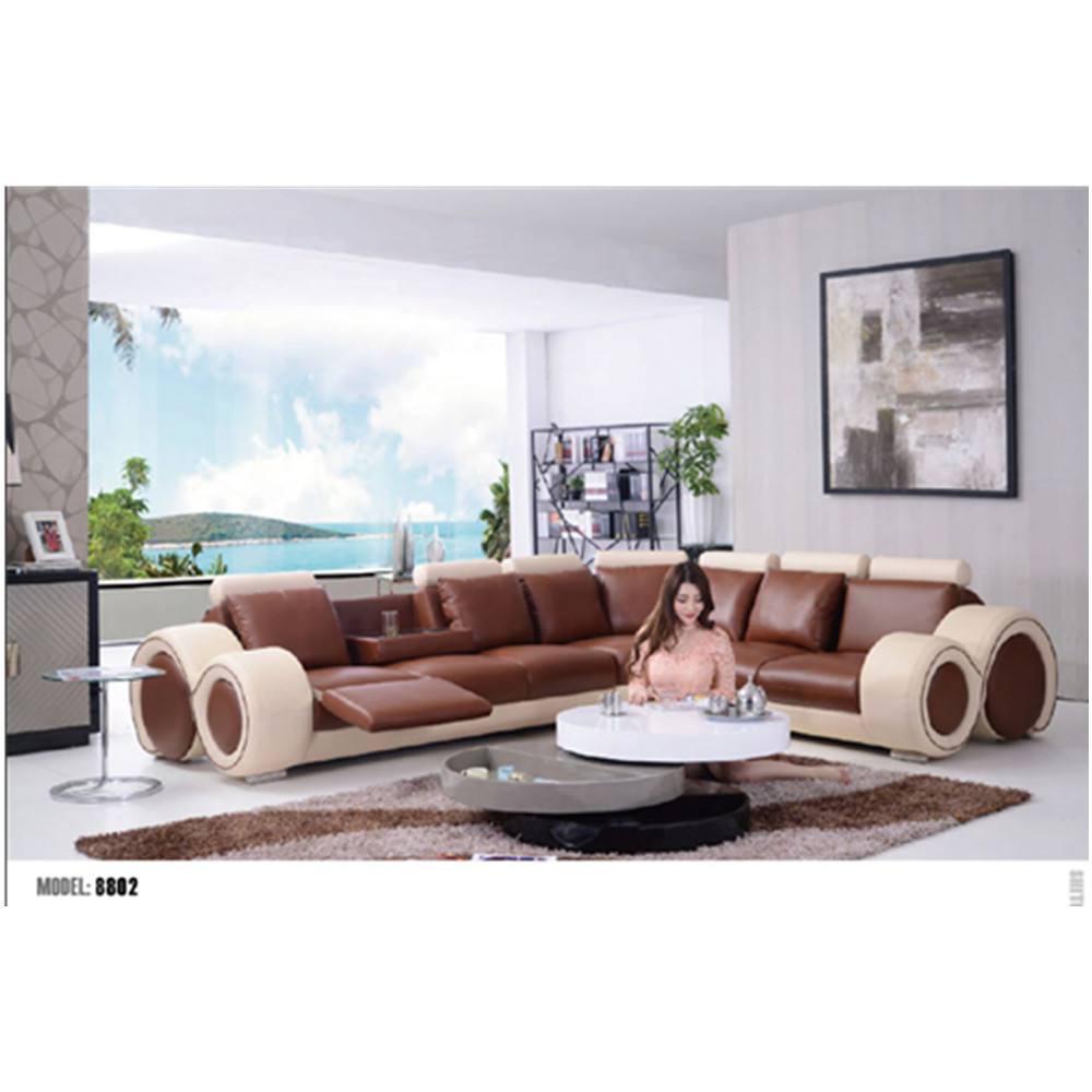 - European Modern Style Living Room Chinese Genuine Leather Sofa Sets