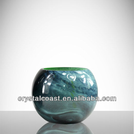 Round Ball Chinese Blue Porcelain Glass Vasesmurano Marble Bowl