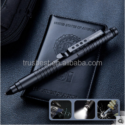 Stainless steel self defense pen with LED light , shenzhen factory