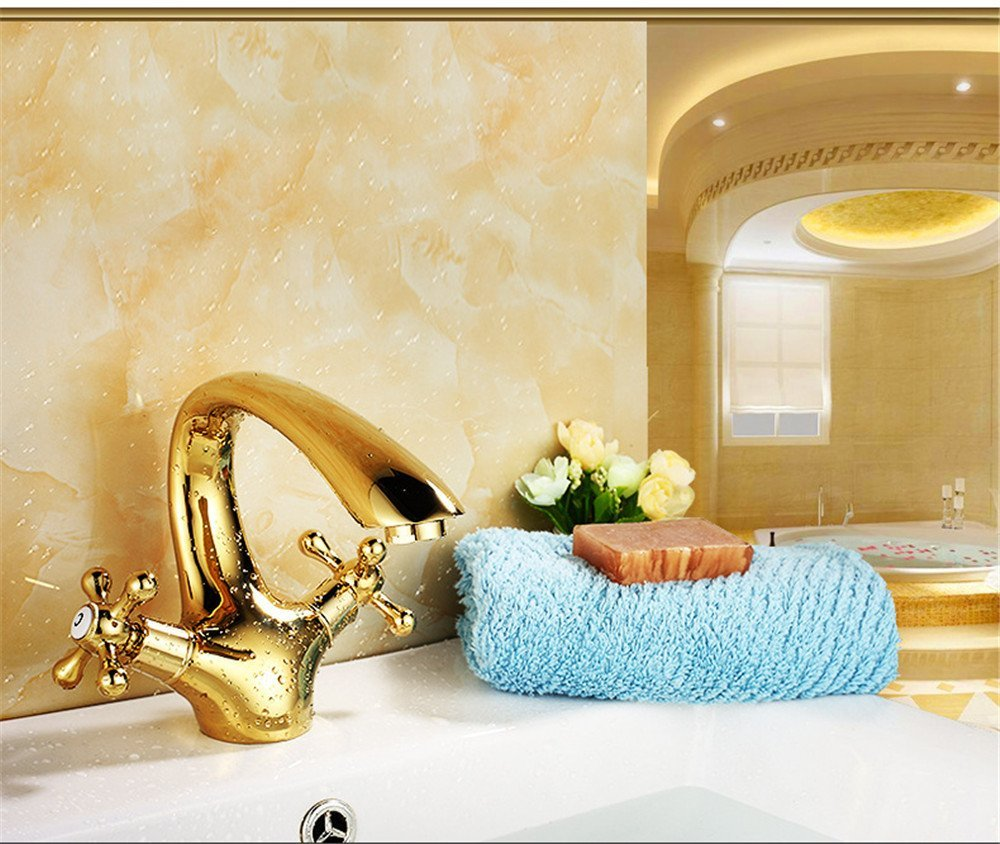 FHLYCF Basin faucet, European style retro copper, golden hot and cold water kitchen faucet, washbasin, bathroom faucet