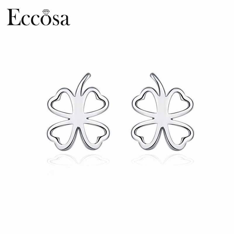 Eccosa The luckly four leaf clover style 925 sterling silver stud earring fashion earrings for women
