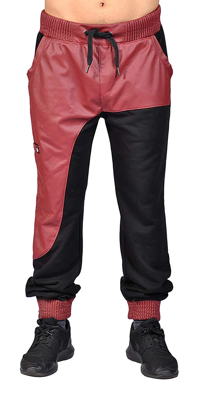 f95e6872 Get Quotations · Makobi Faux Leather Drawstring 4 Pocket Bottom Zip Cuff  Joggers.