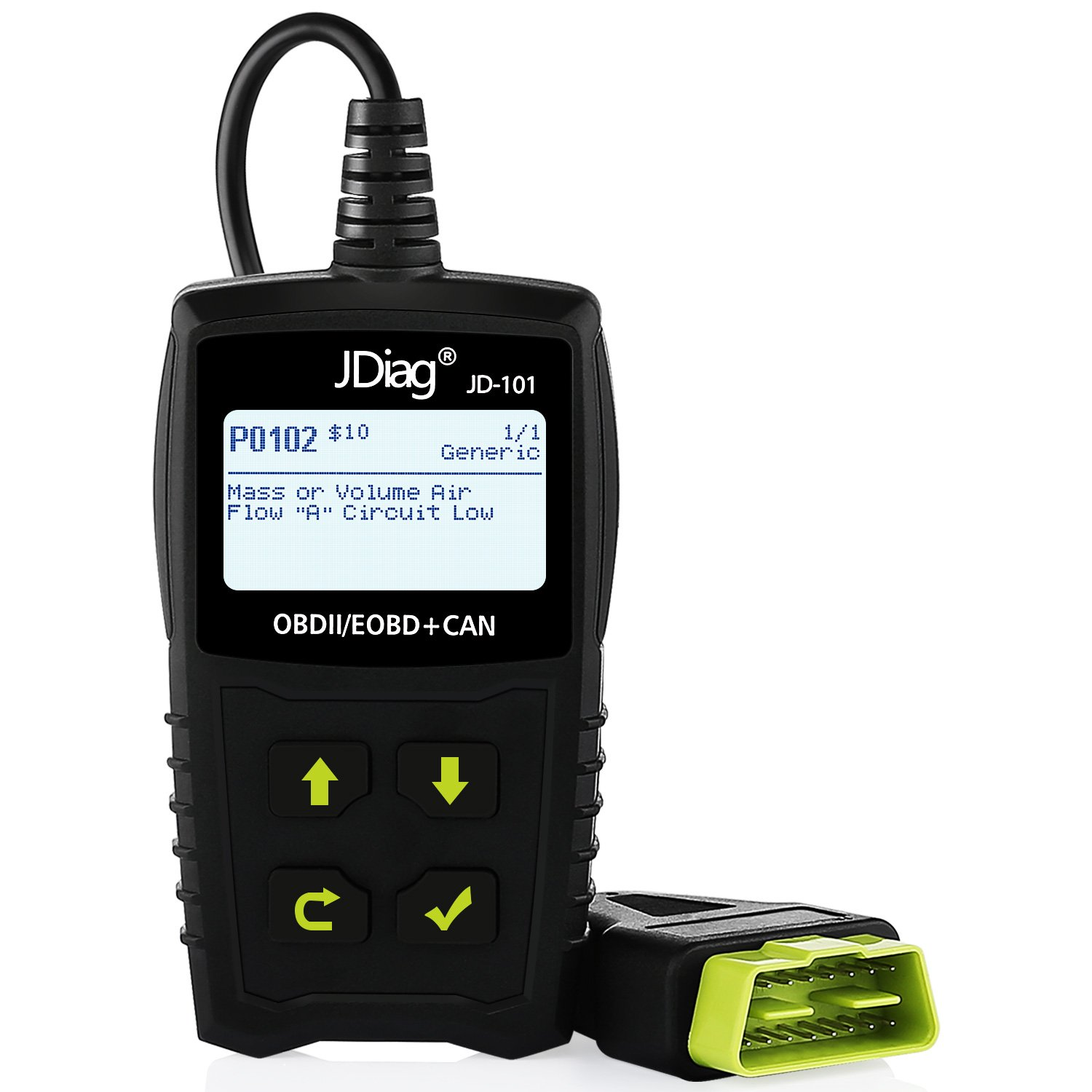 Get Quotations · JDiag JD101 OBD2 Car Code Reader Battery Tester OBDii  Scanner Universal OBDII Diagnostic Tool Engine Fault