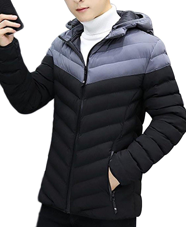 YUNY Mens Puffer Faux Fur Hooded Thicken Outwear Wadded Jacket Khaki L