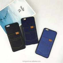 New Design Denim Back Phone Covers with Card hold for iphone 6 6sMobile Phone Accessories.