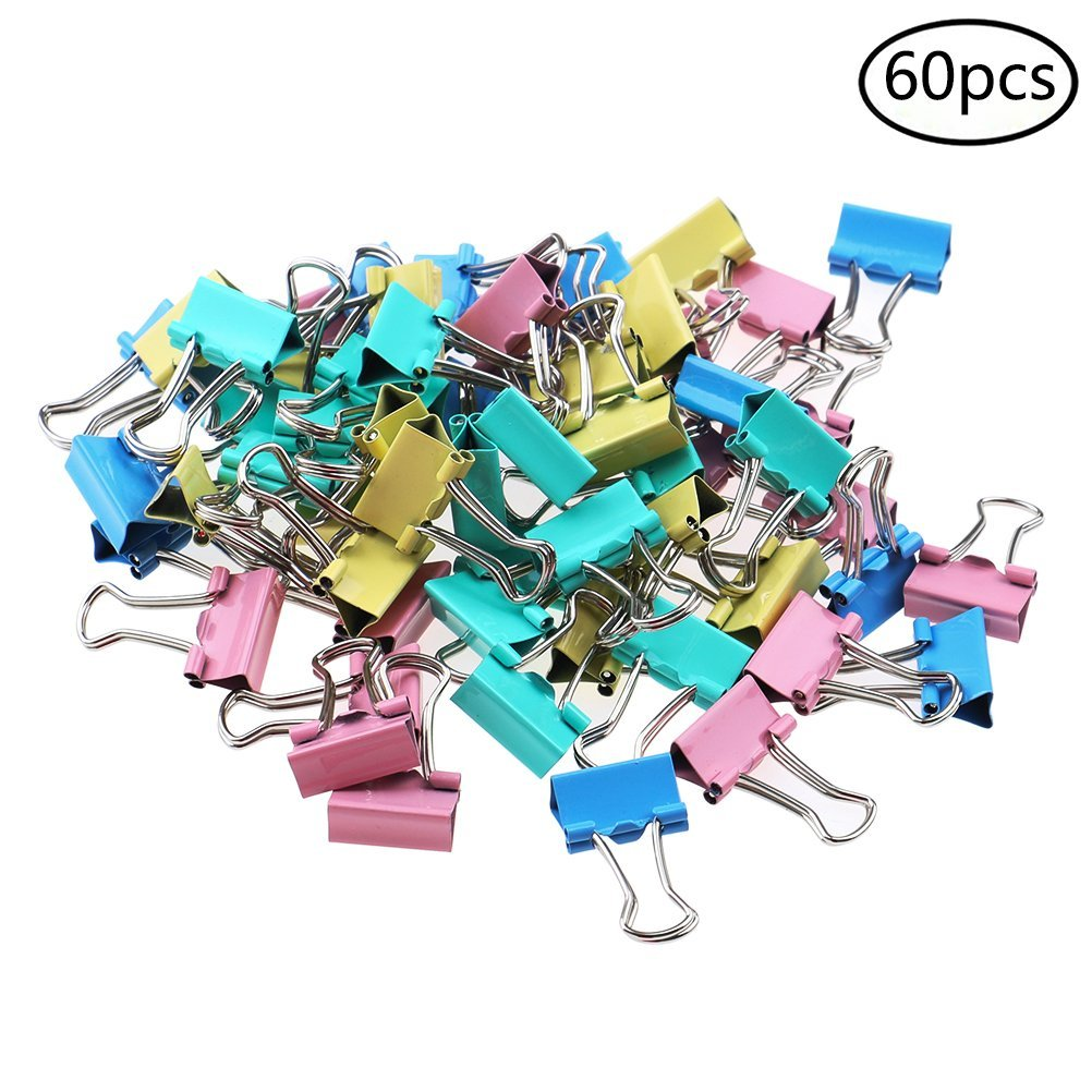 Yiphates 60Pcs Foldback Clips Mini Metal Paper Binder Clips, Office Essential for School Home Office Organiser, Random Colors