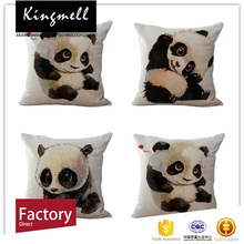 2017 Digital Printed Silk Cushion with Panda Picture