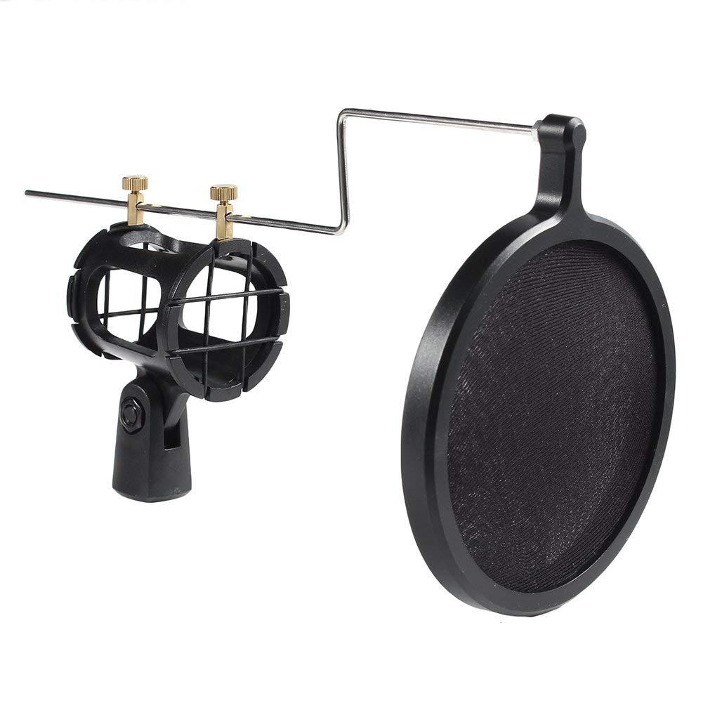 Teclia Universal Metal Microphone Shock Mount with Pop Filter,Broadcast Studio Recording Condenser Microphone Shock Mount Holder Pop Filter Shiled ( Black )