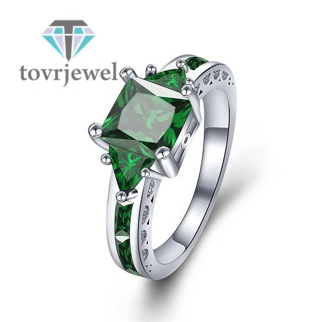 604e5df3c279 Venta caliente verde Anel de circón de oro blanco lleno de joyas de  compromiso boda