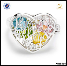 I love you Jewelry 925 Sterling Silver Heart Cut Out Birthstone Silver Locket Ring