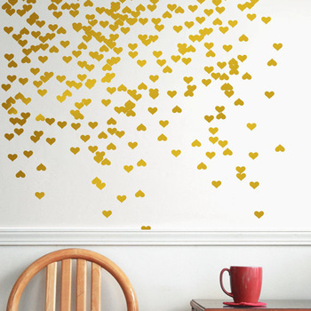 metallic gold wall stickers heart-shaped pattern vinyl wall decals