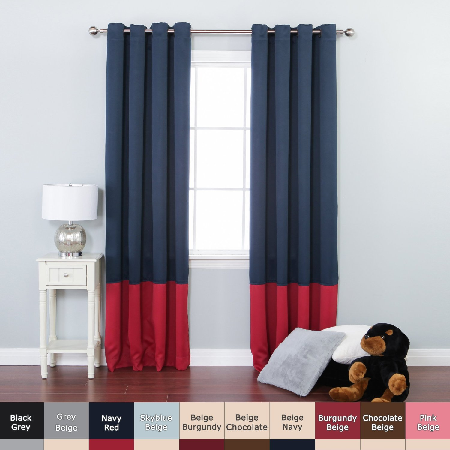 Get quotations · best home fashion colorblock thermal insulated blackout curtains antique bronze grommet top navy