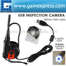 200mm USB Cable HD 8.5mm Camera Head Video Inspection Borescope 6 LED Light Tape Style Endoscope SnakeScope