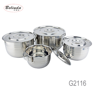 High Quality 4PCS Stainless Steel Outdoor Cooking Pot Camping with Long Handle