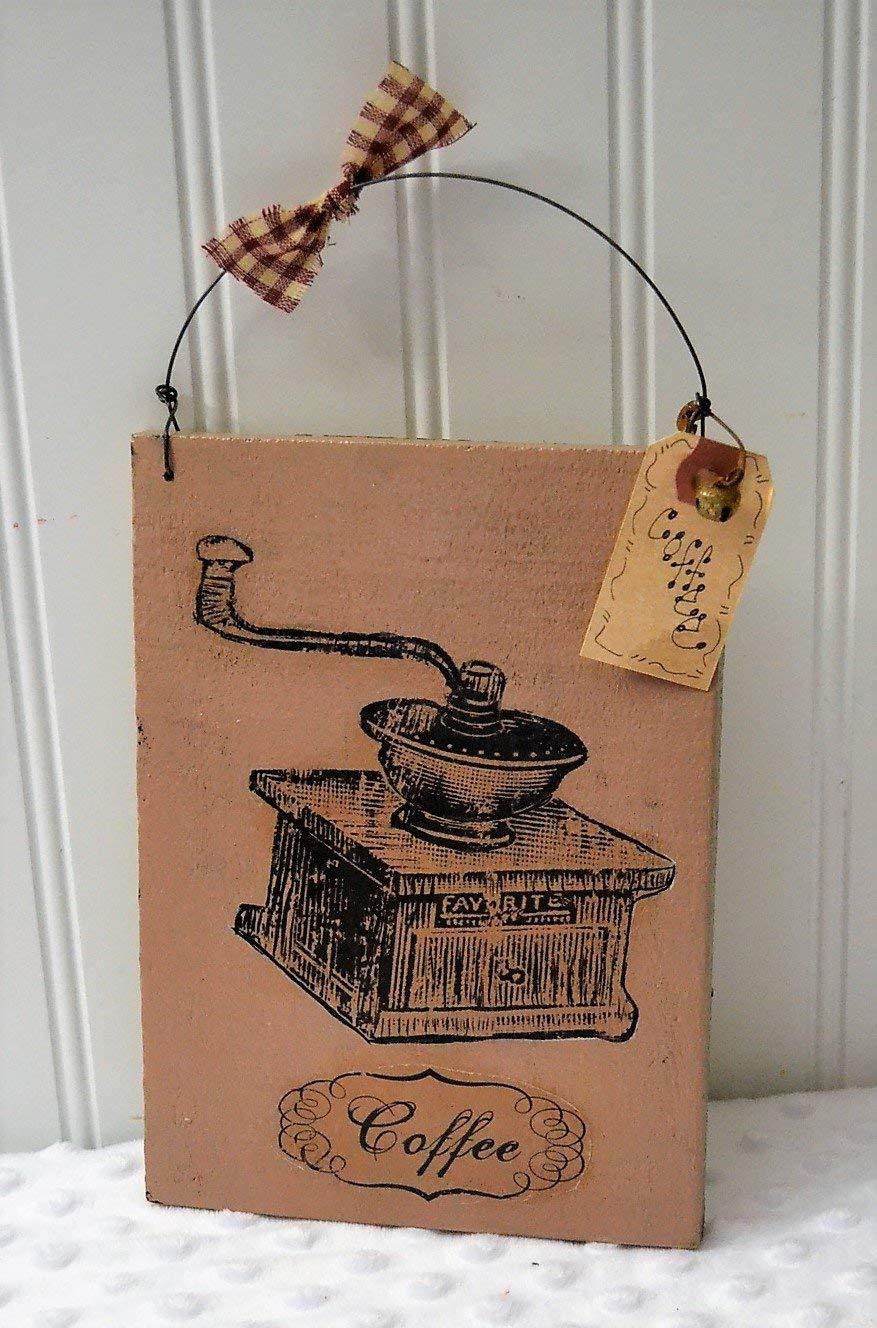 Wooden primitive vintage coffee sign farmhouse style decor rustic farm decor free shipping