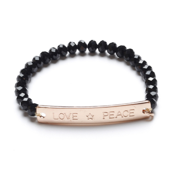 Fashion Bracelet With Words Love And Peace Letters