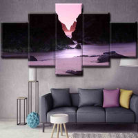 5 Panel Modern Printed Mountains and rivers Landscape Paintings Canvas Picture For Living Room