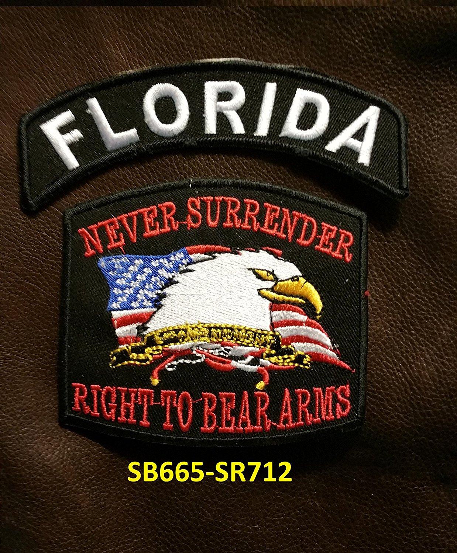 FLORIDA and NEVER SURRENDER Small Badges Set for Biker Vest
