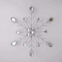 Glitter Iron Wire Snowflake with big diamond Christmas Ornament decoration
