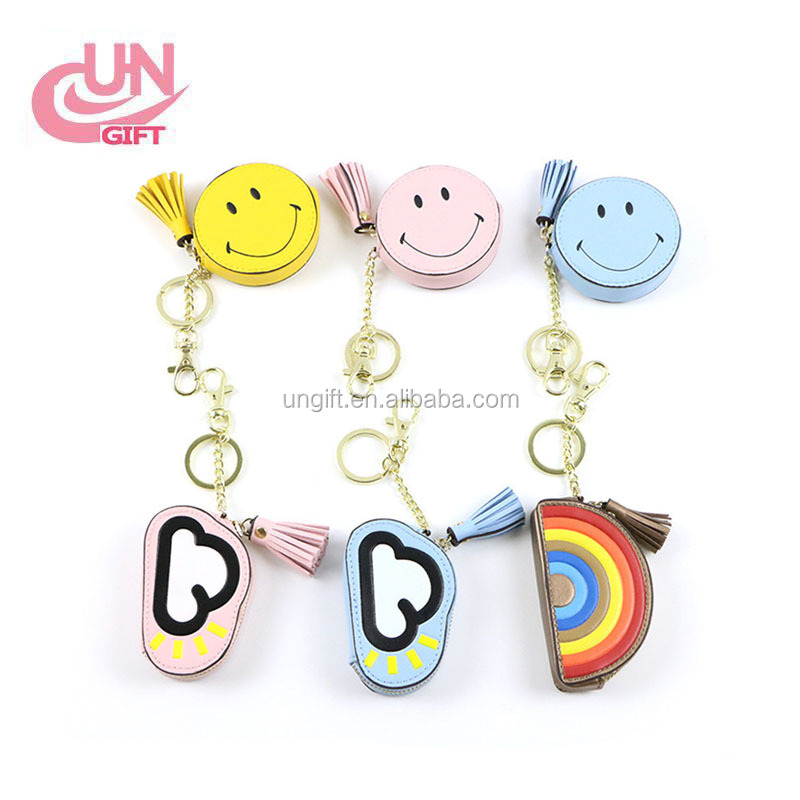 Cartoon cute zero wallet key chain hanging piece smiling clouds rainbow tassel key zero purse