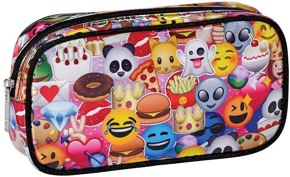 "iscream 'Emoji Collage' 8.5"" x 4.5"" Bold Print Zippered Cosmetic Bag"