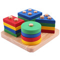 Baby Toys Educational Wooden Geometric Sorting Board Blocks Montessori Kids Educational Toys Building Blocks Child Gift