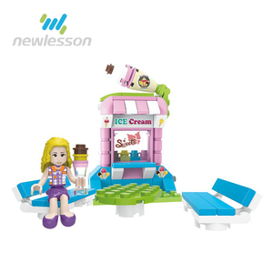 Girls gift plastic ice cream shop toy building blocks high quality