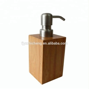 Natural Bamboo Soap Lotion Pump Caddy Rectangle Liquid Soap Dispenser For Bathroom Accessories