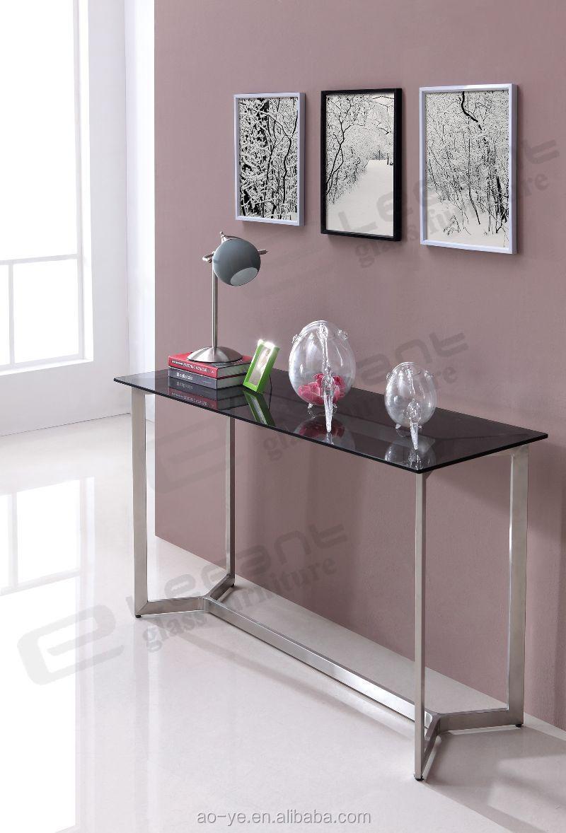 Italiaanse hoge roestvrijstalen console tafel met glazen blad ...