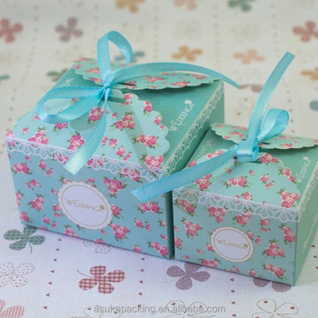 Blue Lace Gift Box For Wedding Candy Wedding Gift Box