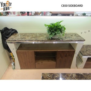 Modern rectangle metal frame stainless steel sideboard with marble top