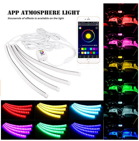 4PCS+8PCS Mobile Bluetooth APP control RGB Car Led interior foot nest strip light
